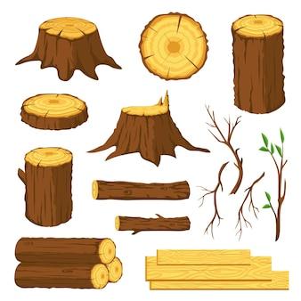 Бревна. дрова, пни с кольцами, стволы, ветки и прутья. лесная промышленность лесоматериалы. деревянные доски, набор векторных древесины. элементы производственной отрасли. дрова для камина