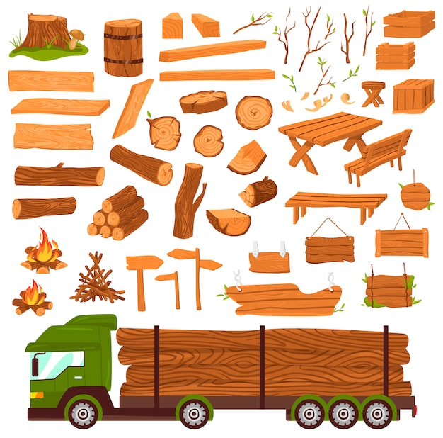 Wood logs, timber industry, wooden materia production, lumbers  set with tree trunk, planks saw  illustration  on white.