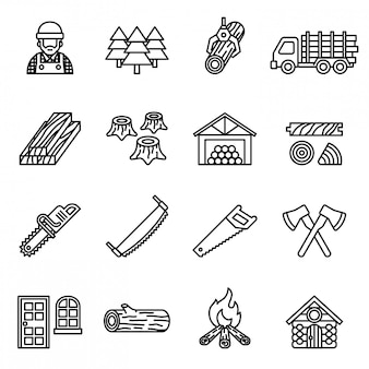 Wood lumber mill saw tree cut icon set vector. line style stock vector.