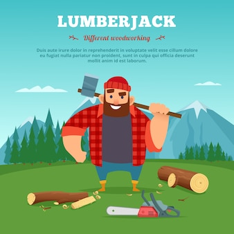Wood machine and lumberjack