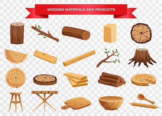 Wood material and manufactured products set with tree trunk branches planks kitchen utensils transparent