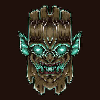 나무 괴물 머리 벡터