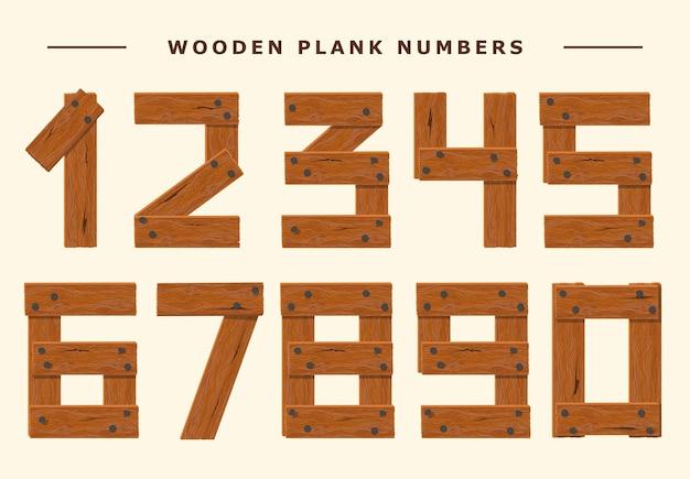 木の数字セット、木の板の数字のフォント、釘で保持された板からの数字。テクスチャードブラウンオークのキャラクター。ベクター