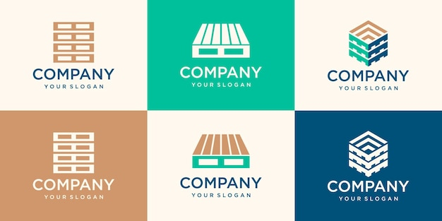 Wood pallets logotype design templates. modern easy to edit logo template. design series.