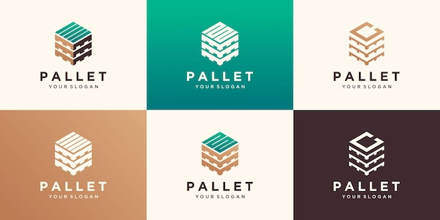 Wood pallets with hexagon log design templates. modern easy to edit logo template.