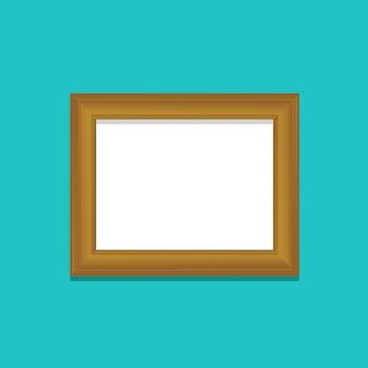 Деревянная фоторамка с синим фоном