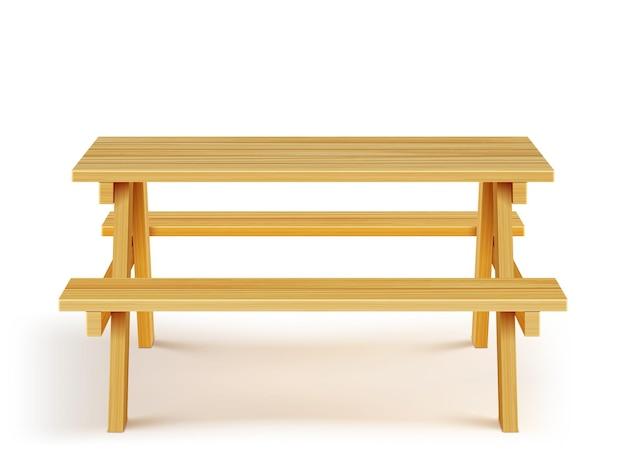 벤치와 목재 피크닉 테이블, 흰색 바탕에 목재 가구.