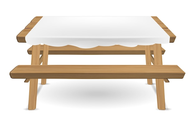 Wood picnic table with white tablecloth vector
