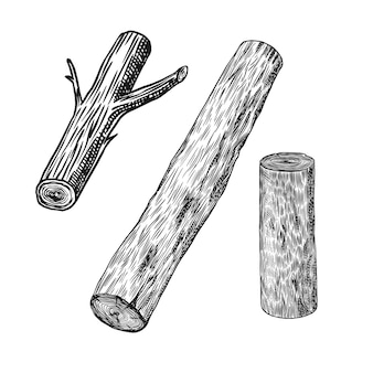 Wood or pieces of tree. planks and logs, lumber and cuts, firewood in vintage style.