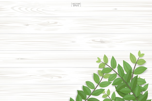 Деревянная картина и текстура планки с зелеными листьями для естественной предпосылки.