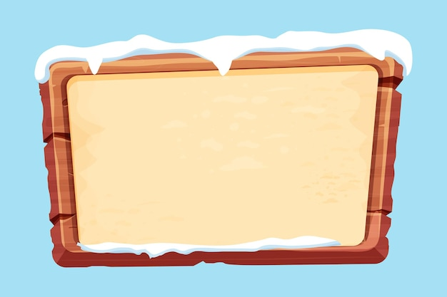 Wood planks with parchment paper and snow in cartoon style isolated