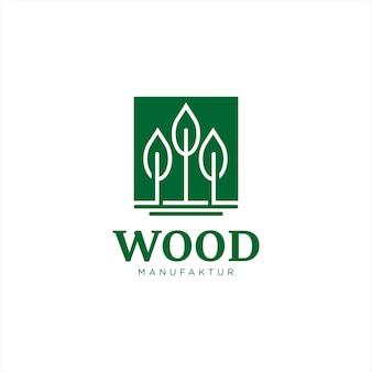 Деревообработка логотип простая квадратная рамка