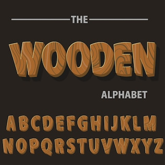 Wood retro font letters for text messages