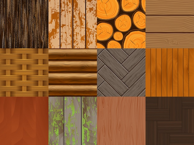 Wood  seamless pattern wooden background texture and natural hardwood material textured backdrop set illustration