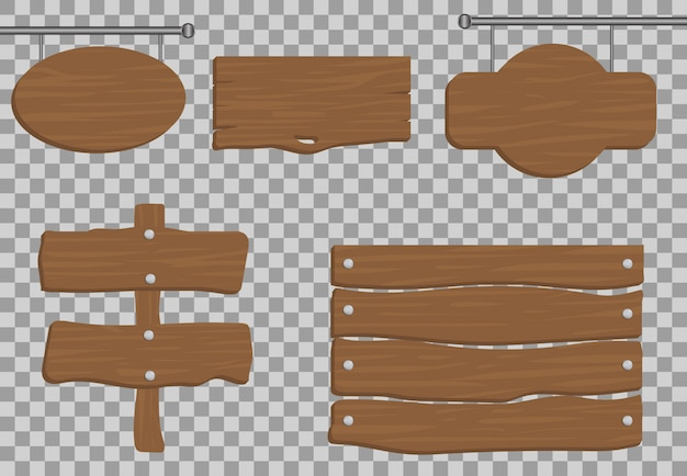 Wood set  realistic , banner traffic illustration   , board texture