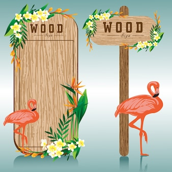 Wood sign board and flamingo flower illustration