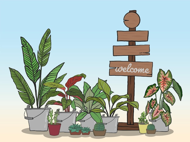 Wood sign for writing messages and potted plants set