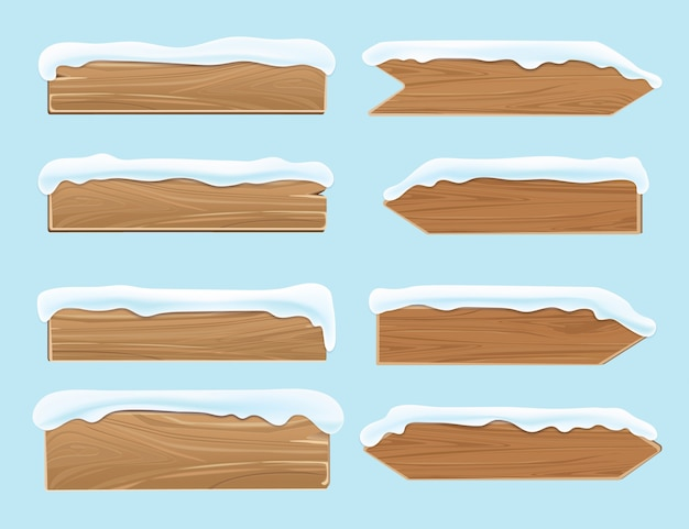 Wood signs planks covered with snow. festive christmas vector decoration isolated