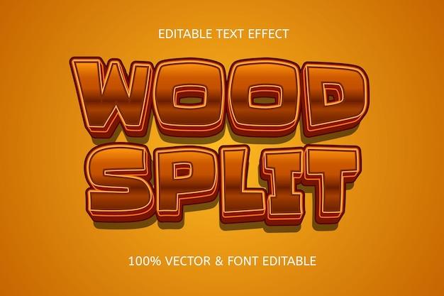 Wood split style 3 dimension editable text effect
