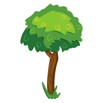 Wood. sprawling tree. nature. flora. cartoon style. vector illustration. for design and decoration.