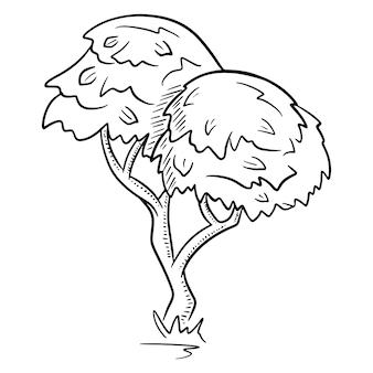 Древесина. раскидистое дерево. природа. флора. мультяшный стиль. векторная иллюстрация. для дизайна и декорирования.