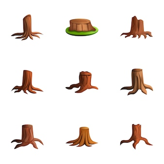 Wood stump set, cartoon style