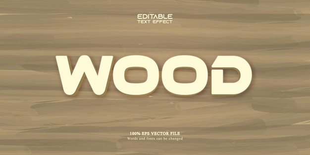 Wood  text, cartoon style editable text effect
