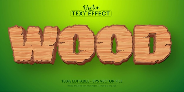 Wood text, mobile game and cartoon style editable text effect