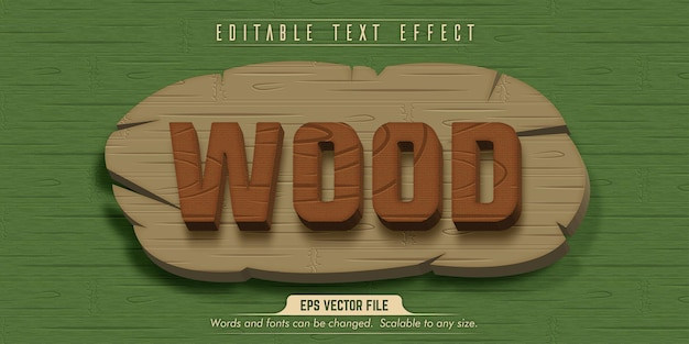 Wood text, wood style editable text effect