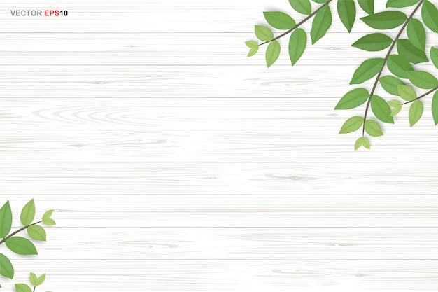 Предпосылка текстуры древесины с зелеными листьями. реалистичный