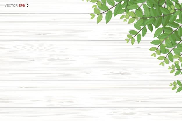 Текстура древесины фон с зелеными листьями