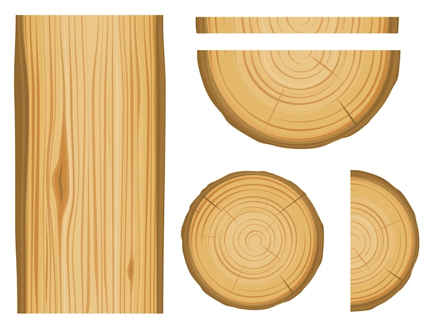 Wood texture and elements isolated on white background