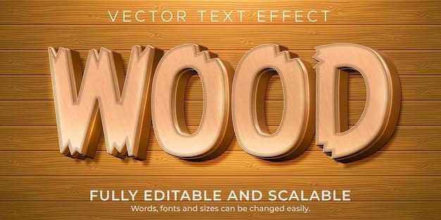 Текстовый эффект деревянного дерева, редактируемый естественный и деревенский стиль текста