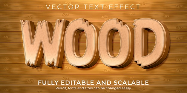 Wood tree text effect, editable natural and rustic text style