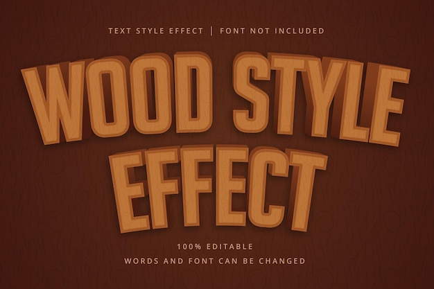 Wood typeface editable text effect for your jungle headline