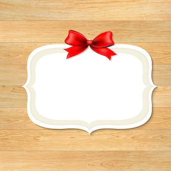 Wood wall with red bow, with gradient mesh