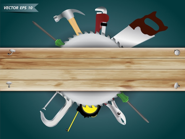Wood with carpenter tools equipment