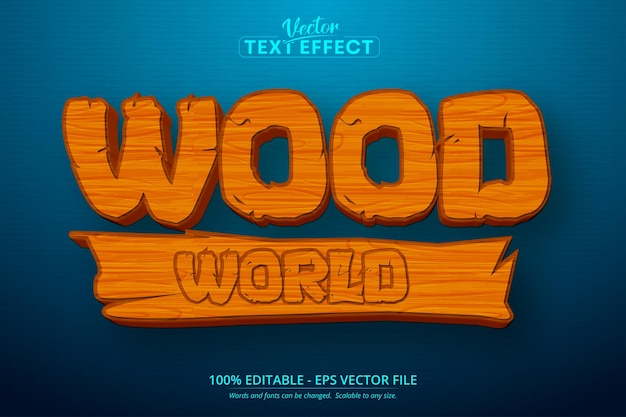 Wood world text, mobile game and cartoon style editable text effect Premium Vector