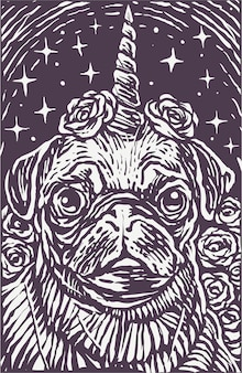 Woodcut style pug dog unicorn poster background