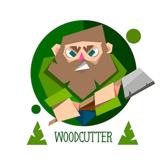 Woodcutter bearded lumberjack vector character with an ax