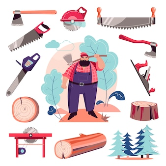 Woodcutter lumberjack and vector tools