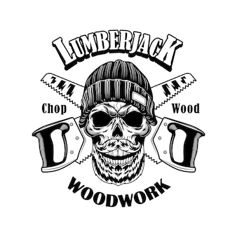 Woodcutter vector illustration. head of skeleton in beanie hat, crossed saws and woodwork text. lumberjack job or craft concept logo