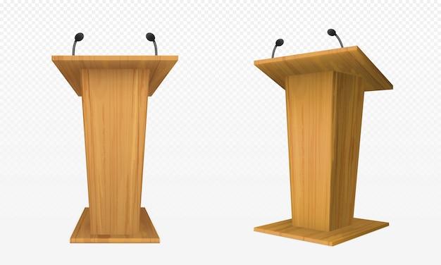 Pulpito in legno, podio o tribuna, supporto per rostro