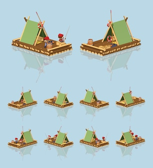 Wooden 3d lowpoly isometric raft