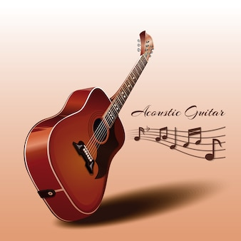 Wooden acoustic guitar and notes. musical instrument. illustration