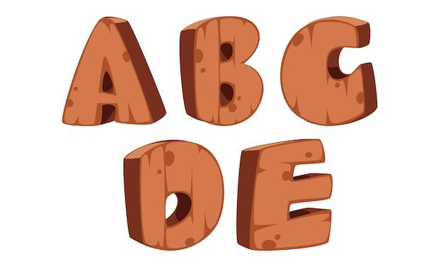木製アルファベットa、b、c、d、e
