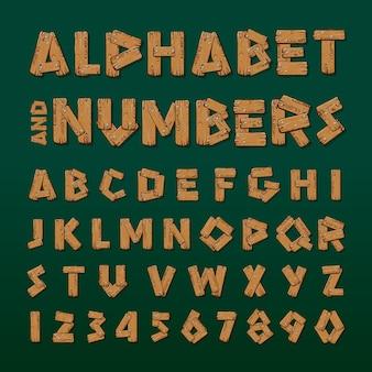 木製のアルファベットと数字のベクトル図