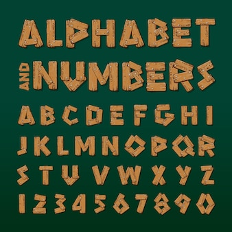 Wooden alphabet and numbers vector illustration