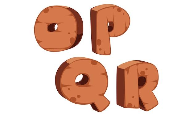 木製アルファベットo、p、q、r