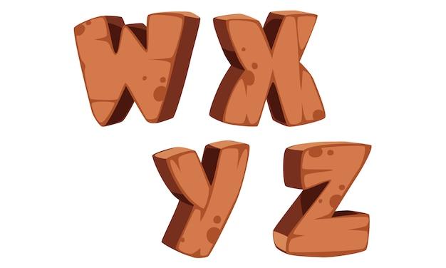 木製アルファベットw、x、y、z